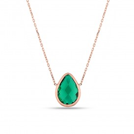 Drop Zircon Stone Silver Necklace