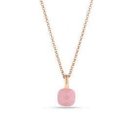Pink Zircon Stone Silver Necklace