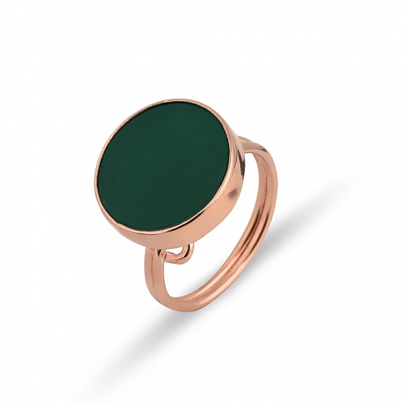 Yeşil Akik Taşlı Gümüş Set