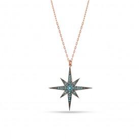 Firuze Taşlı Kutup Yıldızı Gümüş Kolye