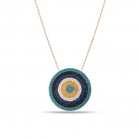 Oversized Firuze Stone Evil Eye Bead Silver Necklace