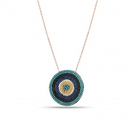 Round Firuze Stone Evil Eye Bead Silver Necklace