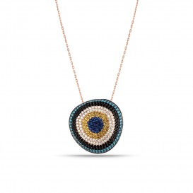 Asymmetric Firuze Stone Evil Eye Bead Silver Necklace