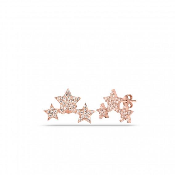 Zirkon Taşlı Süzme Yıldız Küpe