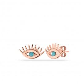 Minimal Firuze Taşlı Göz Küpe