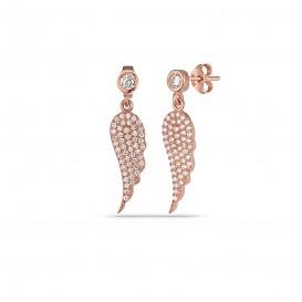 Zircon Stone Angel Wing Earrings