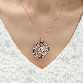 Lettered Circle of Life Silver Necklace