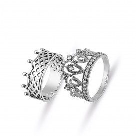 King Queen Crown Combination Silver Ring