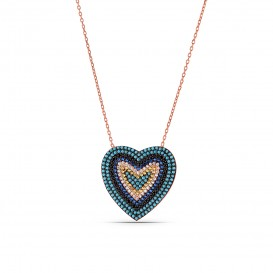 Firuze Stone Evil Eye Bead Silver Necklace in Heart Form