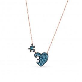 Firuze Taşlı Kalp Puzzle Kolye
