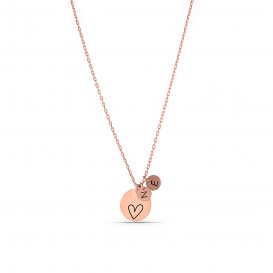 Minimal Heart Letter Necklace