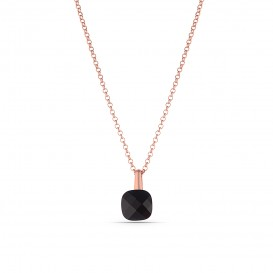 Black Zircon Stone Silver Necklace